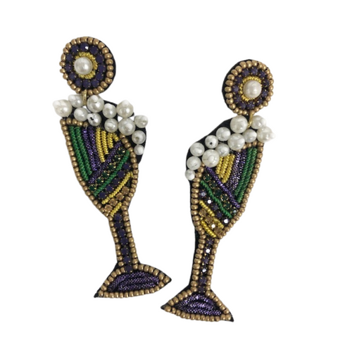 Mardi Gras Champagne Glass Earrings (Pair)