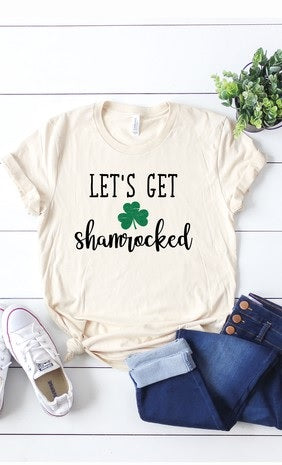 Let's Get Shamrocked Gray Round Neck T-Shirt (Each)