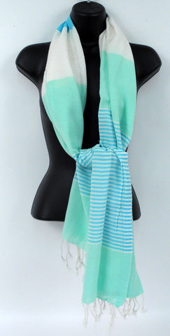 Wind Stripe Scarf, Aqua/ Blue (EACH)