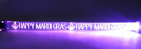 LED Purple Happy Mardi Gras Bracelet with Fleur de Lis