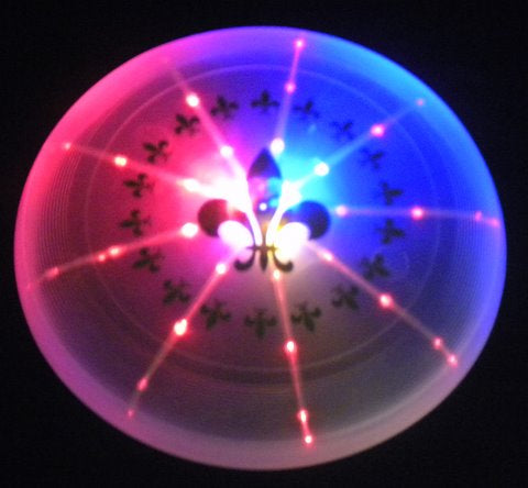 LED Frisbee with Metallic Gold Fleur De Lis (6 Piece)