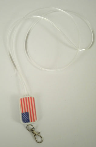 LED Lanyard with USA Flag and Blue Lights