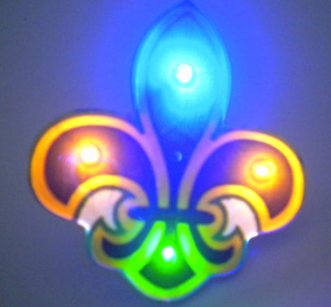LED Purple, Green and Gold Fleur de Lis Magnetic Pin