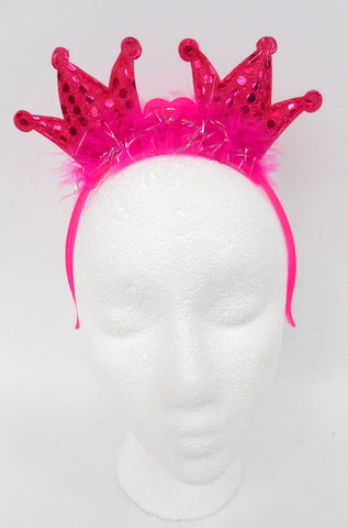 LED Pink 2 Crowns with Fur and Sequins Headband