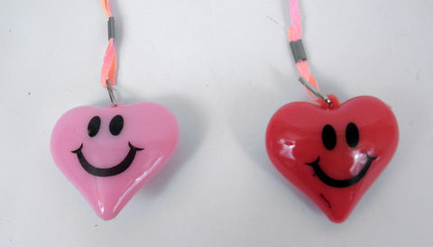 LED Heart with Smiley Face Necklace - Pink and Red