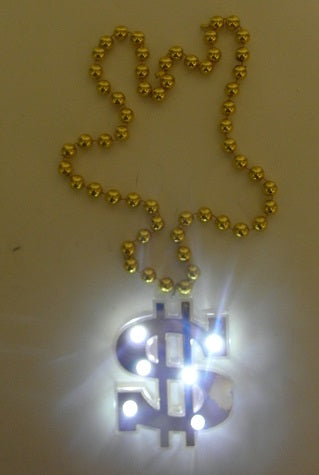 LED Gold Jumbo Dollar Sign Necklace