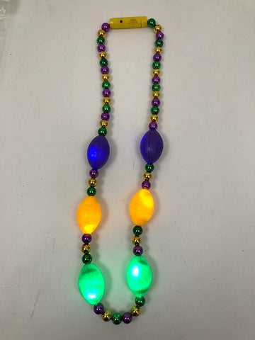 LED Purple, Green and Gold Football Necklace