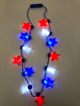LED Red, White and Blue Star Necklace with 13 Stars