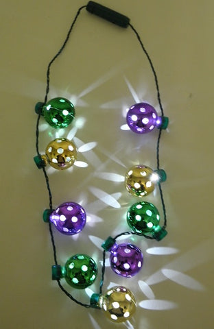 LED Mardi Gras Disco Ball Necklace with 9 Balls