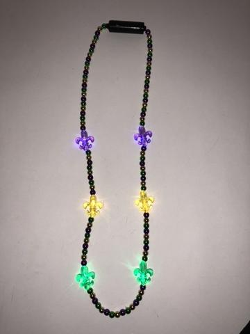 LED Fleur de Lis on Purple, Green and Gold Necklace (Dozen)