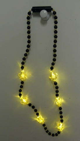 LED Fleur de Lis on Black and Gold Necklace