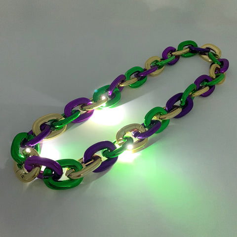 LED Purple, Green and Gold Chain Link Necklace