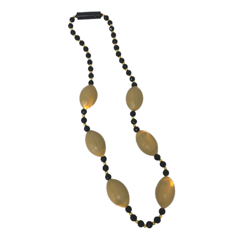 LED Black and Gold Football Necklace (Each)