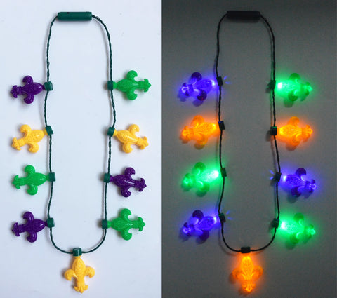 LED Purple, Green and Yellow Fleur de Lis Necklace