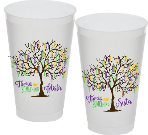 16oz Mardi Gras Bead Tree Frost Flex Cup (Sleeve of 25)