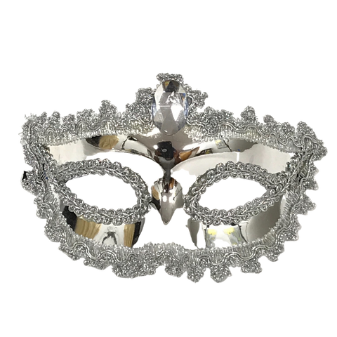 Shiny Silver Mask with Silver Jewel and Ribbon Tie (Each)