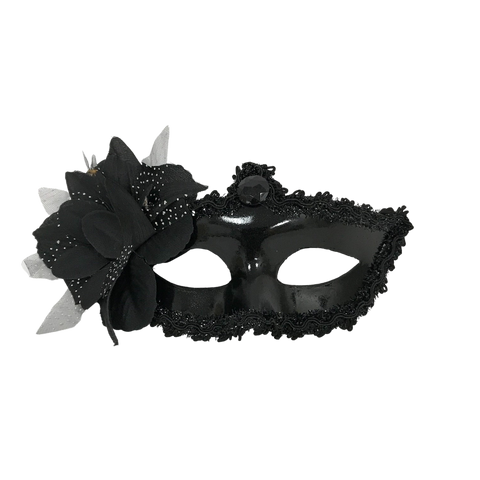 Black Mask with Black Flower with Ribbon Tie (Each)