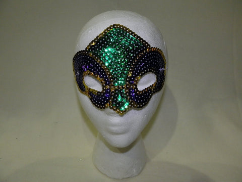 Purple, Green and Gold Sequin Fleur De Lis Mask (Each)