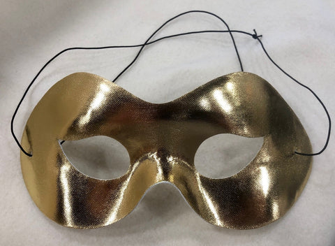 Shiny Gold Masquerade Mask with Elastic Band (Each)