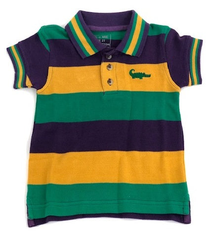 Mardi Gras Traditional Stripe Short Sleeve Polo (Each)