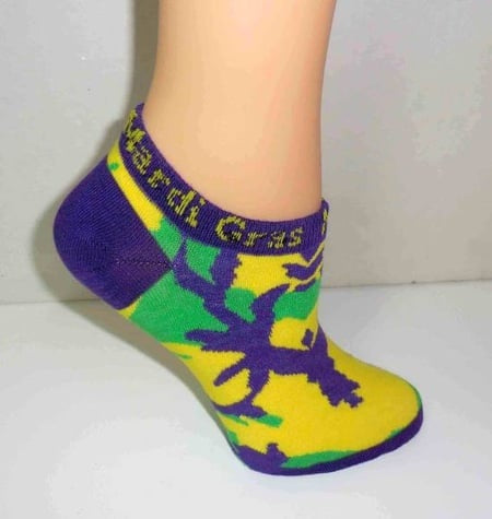 Purple, Green and Yellow Camo Ankle Socks (Each)