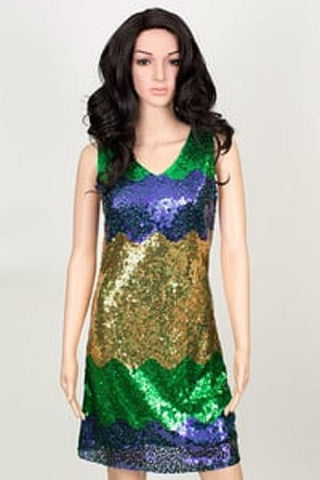 Purple, Green and Gold V-Neck Sequin Dress (Each)