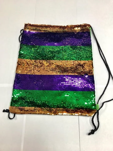 Purple, Green and Gold Stripe Sequin Drawstring Backpack (Each)