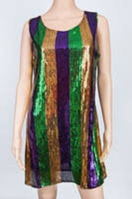 Purple, Green and Gold Sequin Stripe Dress (Each)
