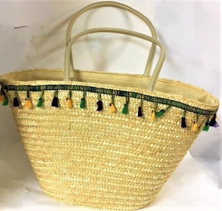 "11"" x 18""  Straw Bag with Purple, Green and Yellow Tassels (Each)"
