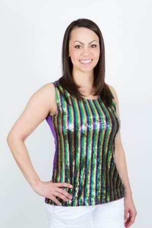 Purple, Green and Gold Sequin Stripe Shirt (Each)