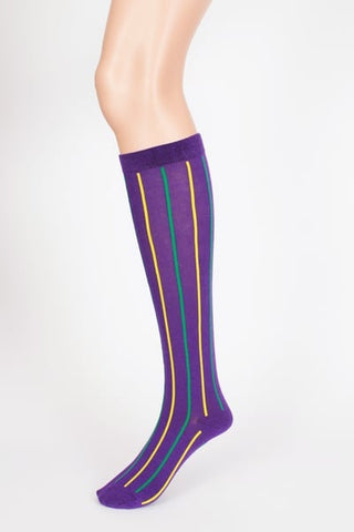 Purple, Green and Yellow Vertical Stripe Socks (Pair)
