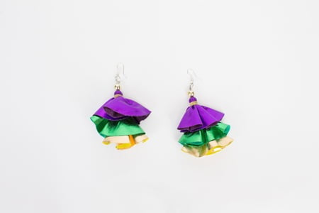 Purple, Green and Gold Triple Layer Lame' Earrings (Each)