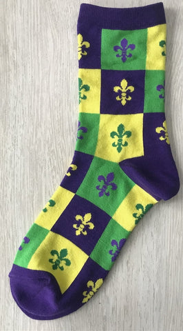 Harlequin Purple, Green and Yellow Fleur de Lis Socks (Pair)