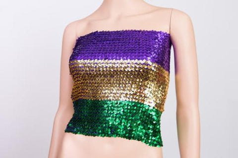 "Purple, Green and Gold Sequin Tube Top (15 x 15"")"