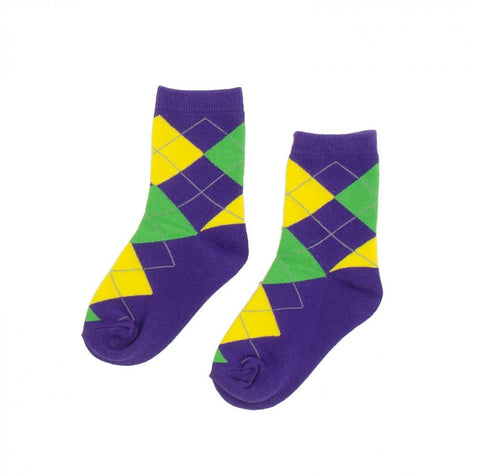 Purple, Green and Yellow Argyle Children's Socks (EACH)