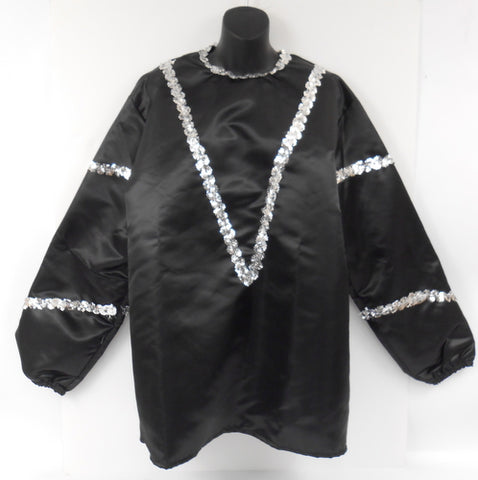 #17 - Solid Black Costume with Silver Sequins Trim on Neckline and Arm (Each)
