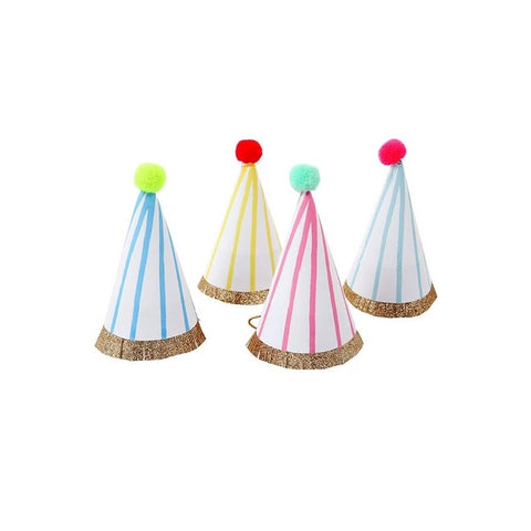 Mini Party Hats with Stripes and Pom Pom (Pack)
