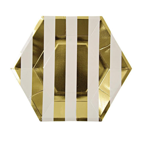 Gold Stripes Large Plates (Pack of 8)