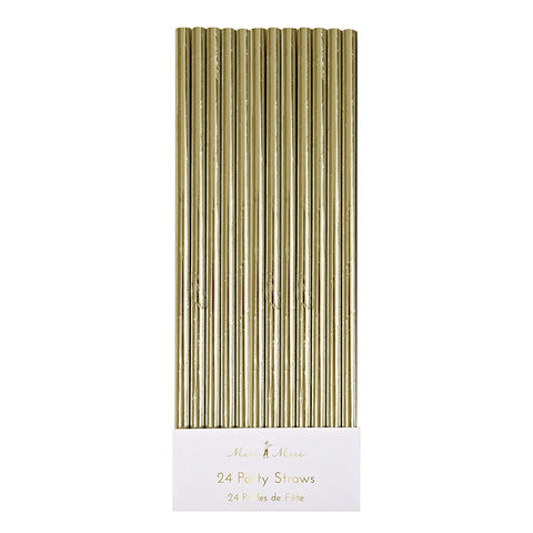 Gold Foil Party Straws (Pack of 24)