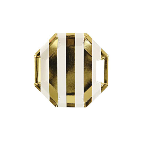 Gold Striped Canape Plates (Pack of 8)
