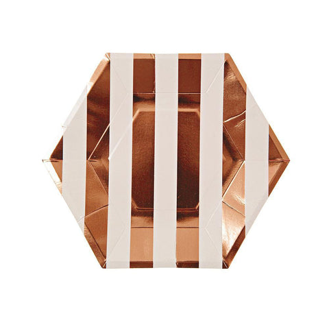 Rose Gold Small Striped Plate (Pack of 8)