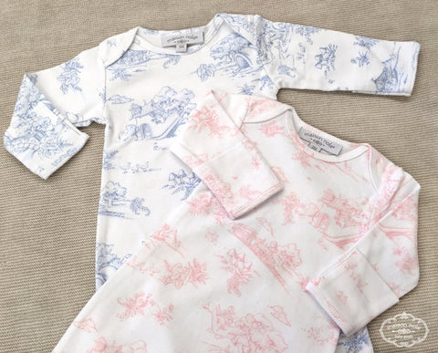 Storyland Toile Baby Gown - Pink or Blue (Each)
