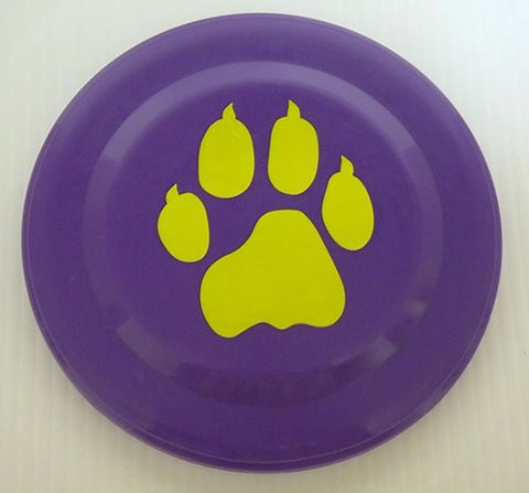 "Purple and Gold Frisbee with Tiger Paw Imprint 7"" (Dozen)"