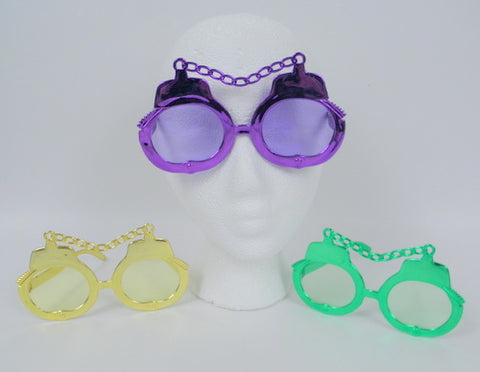 Purple, Green and Gold Handcuff Glasses (Dozen)