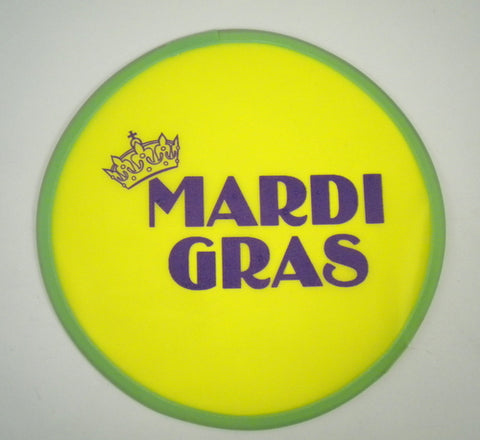Yellow Flex Frisbee with Purple Mardi Gras Logo and Crown (Pack of 6)