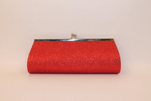 "Red Glitter Clutch Purse with Chain 8"" x 3"" (Each)"