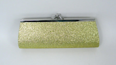 "Gold Glitter Clutch Purse with Chain 8"" x 3"" (Each)"