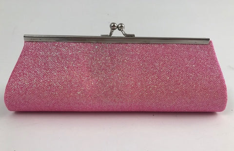 "Neon Hot Pink Glitter Clutch Purse 8"" x 3"" with Chain (Each)"