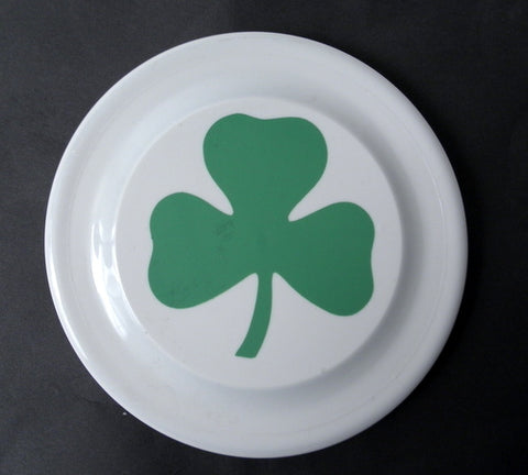 "7"" St. Patrick's Day White Frisbee with Green Shamrock (Dozen)"