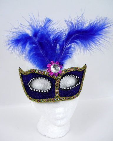 Blue Feather Mask with Rhinestones (Each)